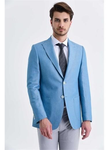 Hatemoğlu Desenli Slim Fit Ceket Mavi